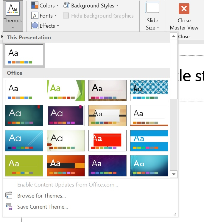 Select theme for a new design in PowerPoint