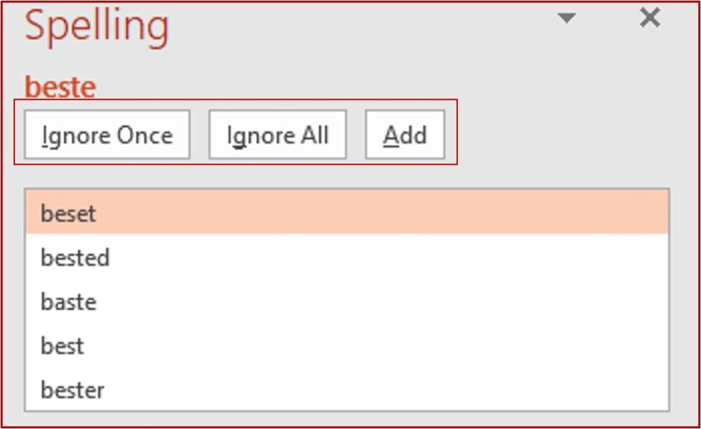 ignore, ignore all, add in powerpoint spelling box