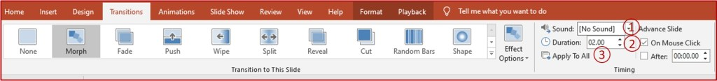 transitions tab on powerpoint