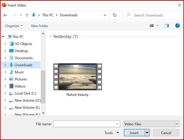 insert video dialog box in powerpoint