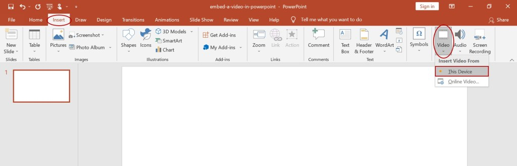 embed video in powerpoint from pc