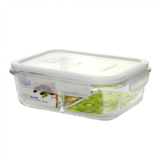 Divided Large Glass Food Storage Containers With Plastic Lids