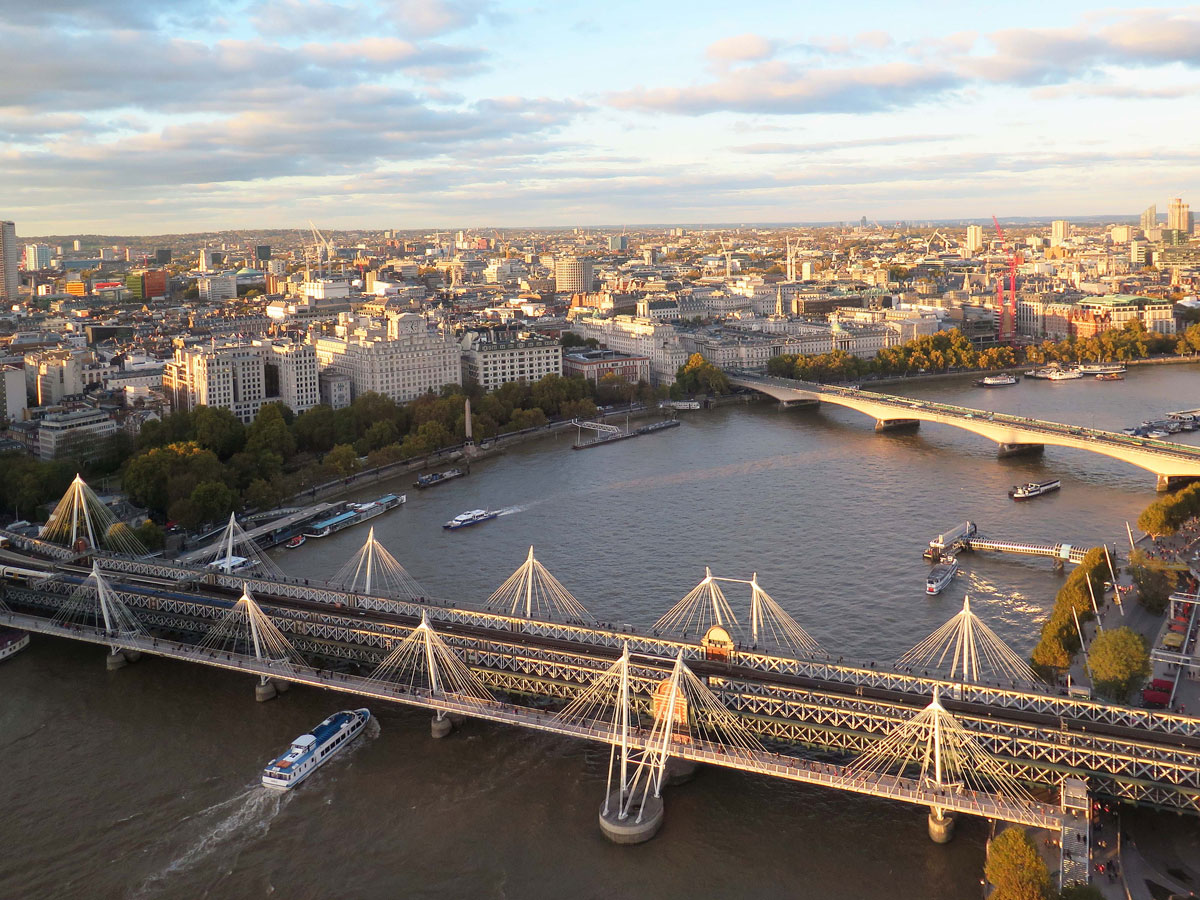 The Hungerford Bridges (and Waterloo Bridge) from the London Eye