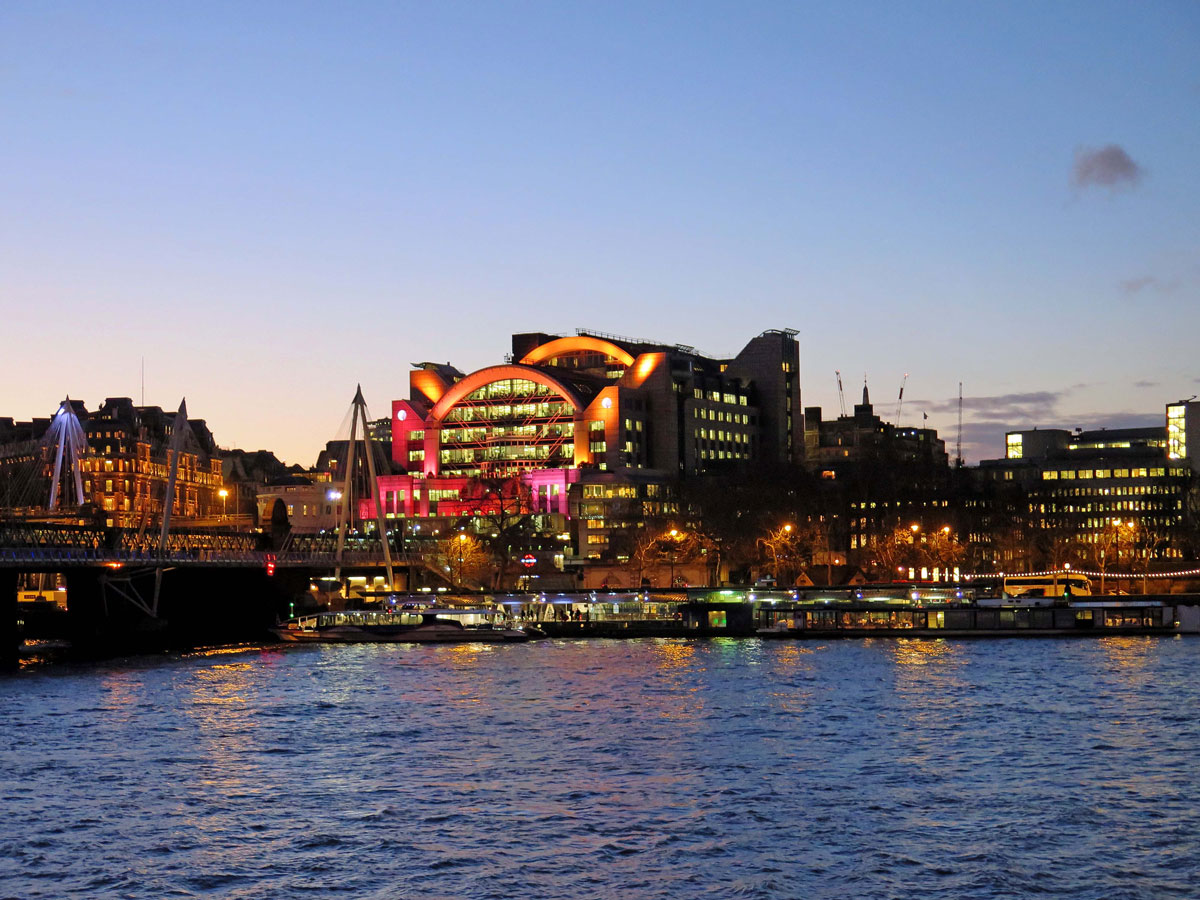 Charing Cross Station from the South Bank at night
