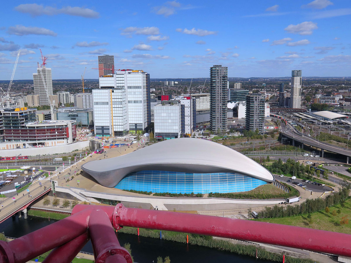 Stratford City and the Aquatics Centre from the ArcelorMittal Orbit