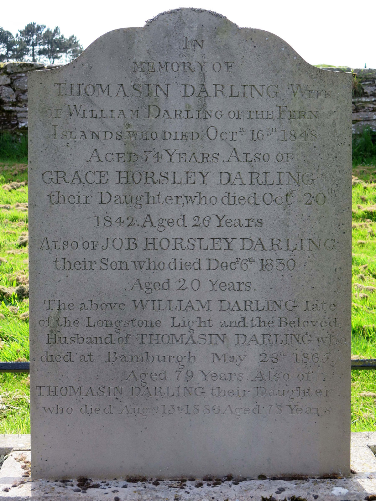 The Darling Family grave with the replacement headstone