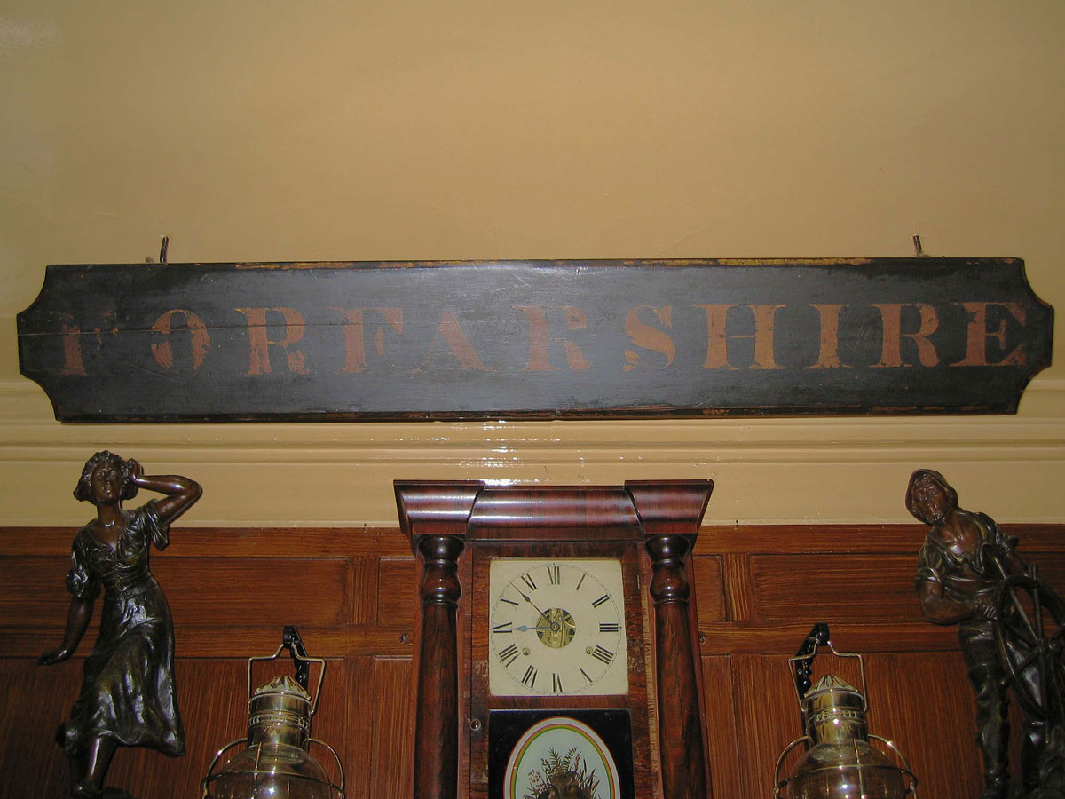 Nameplate from the Forfarshire in the Olde Ship, Seahouses