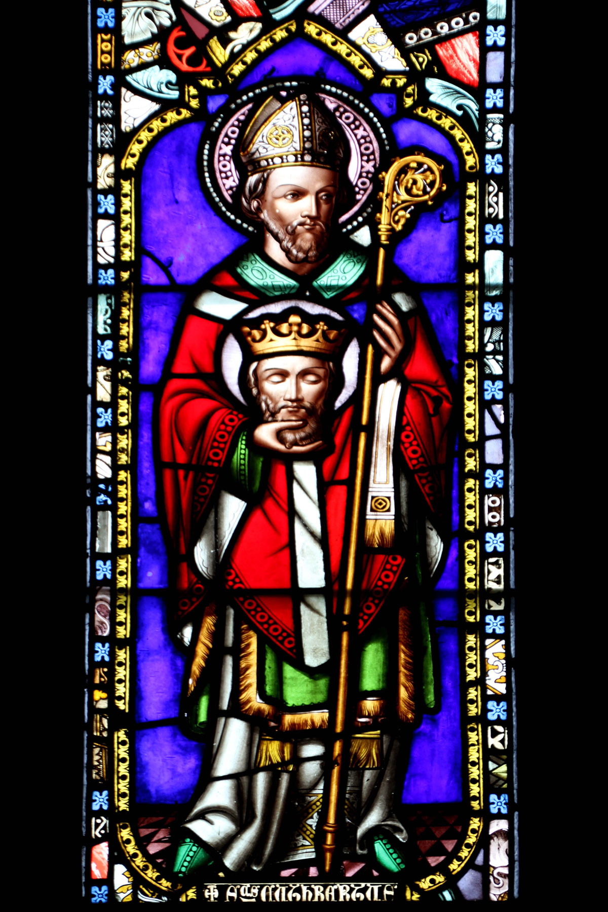 Stained Glass window of St. Cuthbert in the chapel on Inner Farne