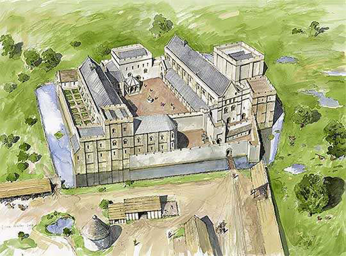 Reconstruction Drawing showing how Wolvesley might have looked in 1171 © Historic England