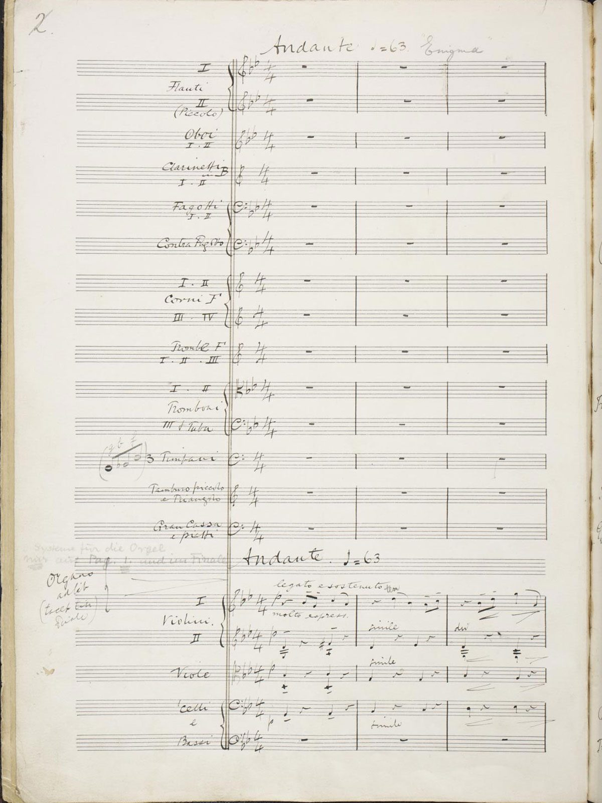 A Manuscript page from Elgar's Enigma Variations (1898/9)