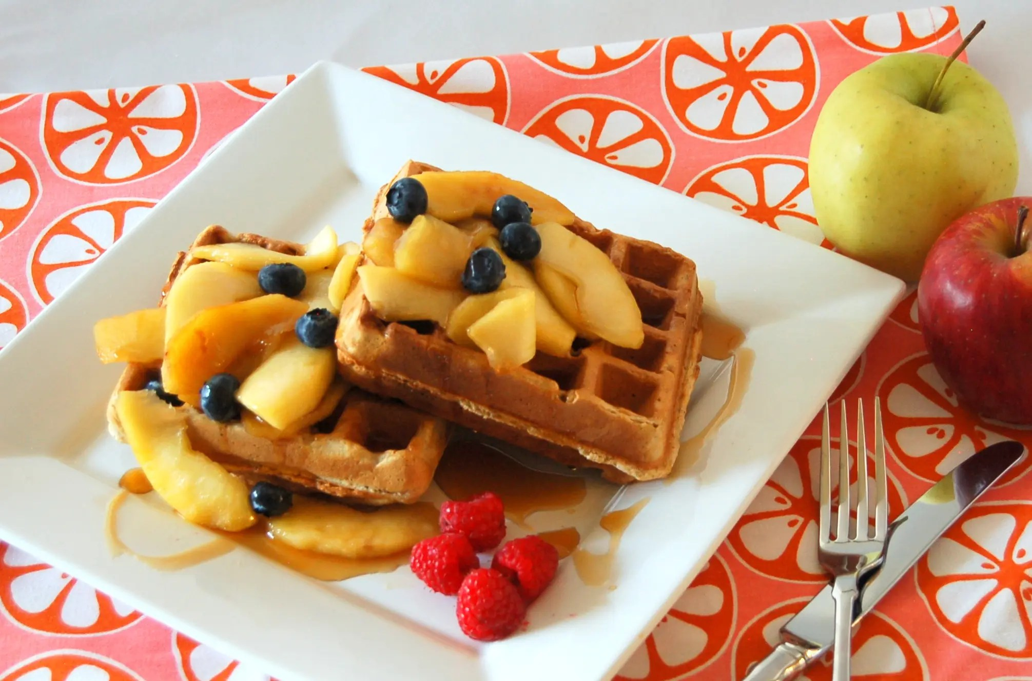 Apple Pie Waffles with Whole Wheat, Flax and Chia Seeds