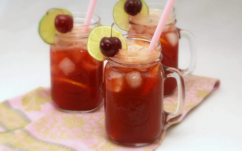 Cherry Lemon Limeade made with Stevia