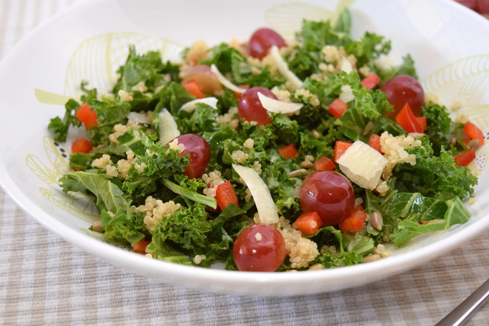 Kale, Grape and Quinoa Salad  (Inspired by the Cheesecake Factory)
