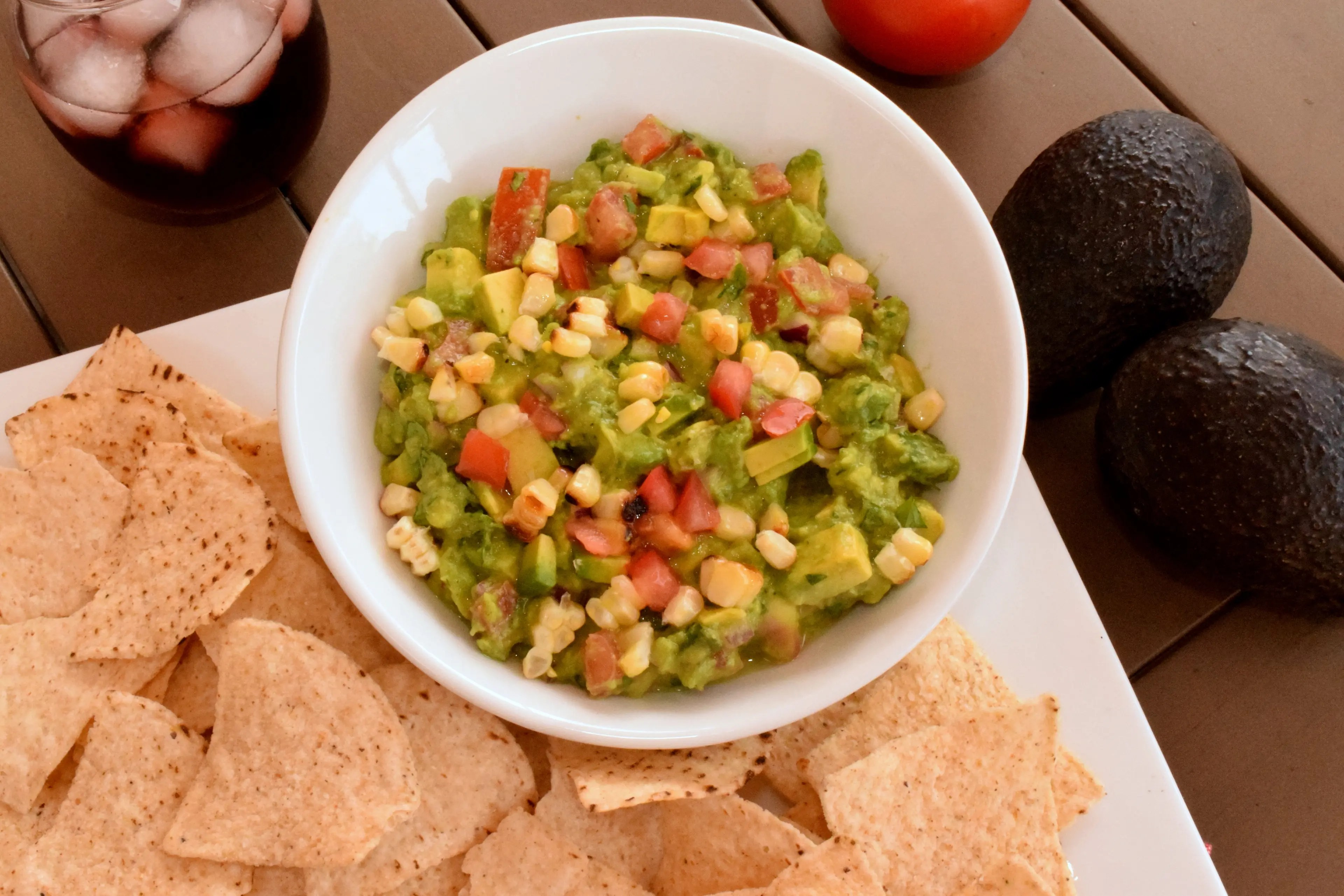 Easy Guacamole with Fresh Tomatoes and Grilled Corn