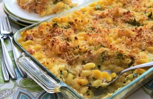 Mac and Cheese with Creamy Cauliflower Sauce and Ham