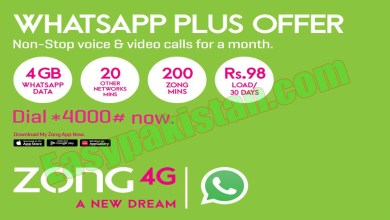 Zong Monthly Whatsapp Plus package