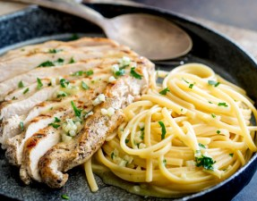 This Garlic Butter Pasta is simple to make and is packed with plenty of buttery garlic flavors and served with juicy grilled chicken breasts, topped with more garlic butter. This is a family friendly dinner. From Easy Pasta Sauces.