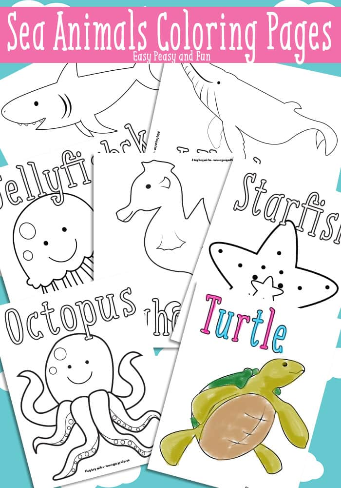 ocean and sea animals coloring pages free printable easy peasy
