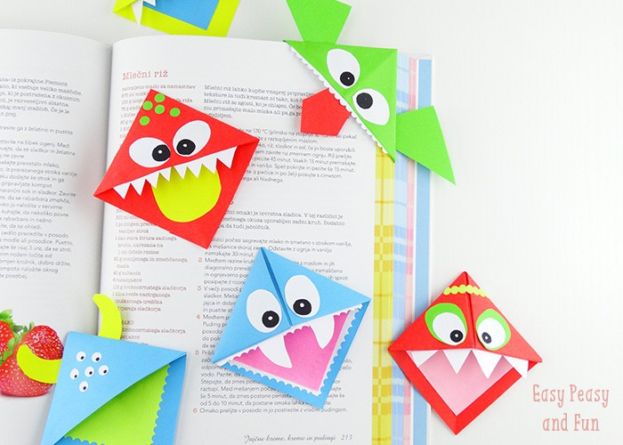crafts for kids with paper, easy DIY craft ideas for kids, easy paper crafts for kids, DIY craft ideas DIY Origami Bookmarks
