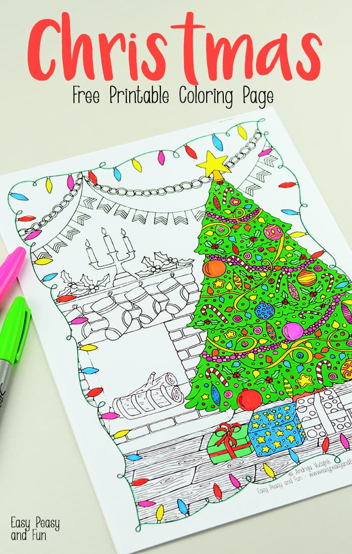 Free Printable Christmas Coloring Page Easy Peasy And Fun