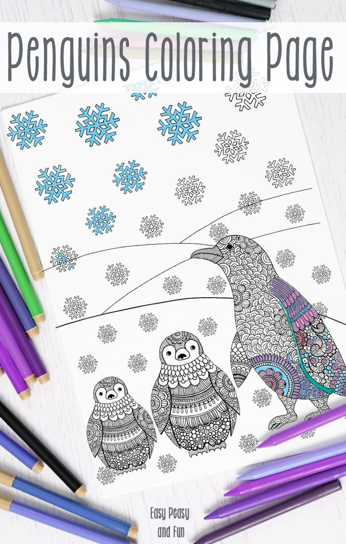 Printable winter intricate coloring pages for adults and big kids | Easy Peasy and Fun