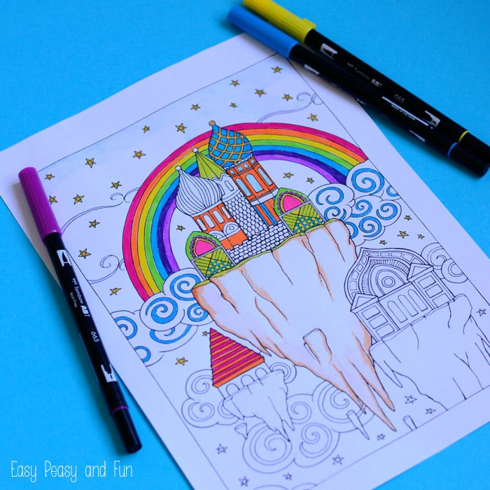 Sky City Coloring Page For Adults Easy Peasy And Fun