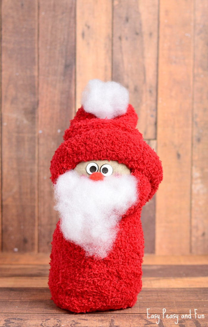 No-Sew Sock Santa Craft for Kids | Easy Peasy and Fun