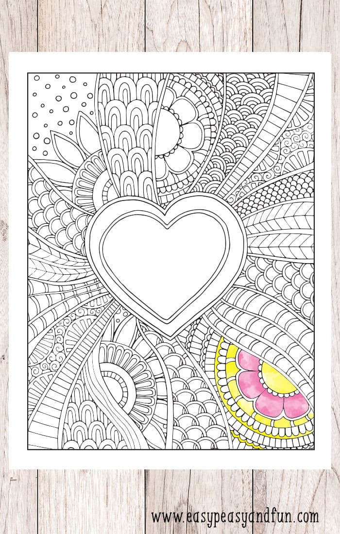 Doodle Heart Coloring Page Easy Peasy And Fun