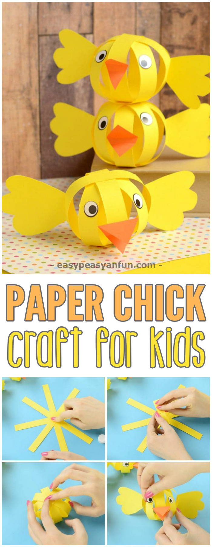 Simple Paper Chick Craft Easter Craft Ideas Easy Peasy