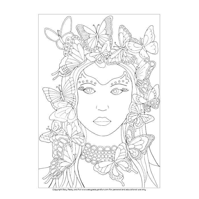 Butterfly Lady Coloring Page Easy Peasy And Fun