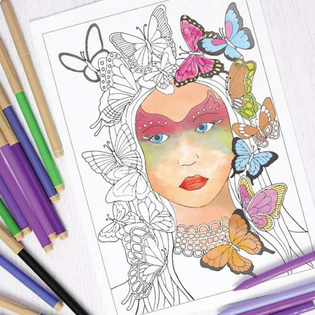Butterflies in Hair Coloring Page