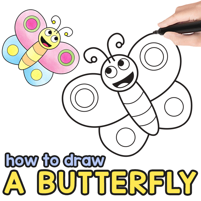How To Draw A Butterfly Step By Step For Kids Printable Easy Peasy And Fun