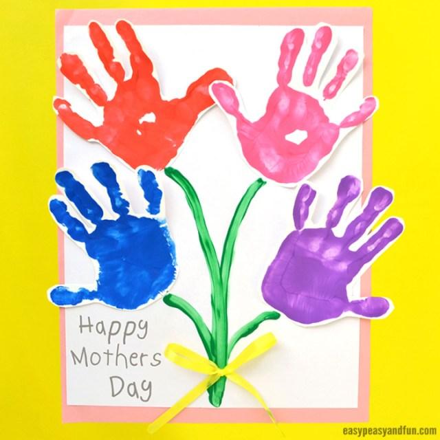 Mothers Day Handprint Art-Flowers-Craft