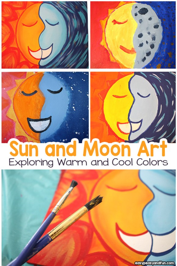 Sun and Moon Painting - Art Lesson With Warm and Cool ...
