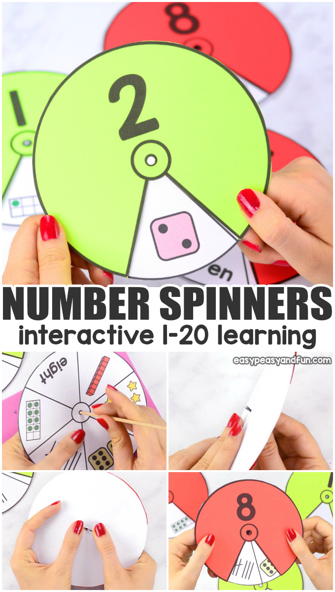 Printable Number Spinners 1 To 20 Number Sense Easy