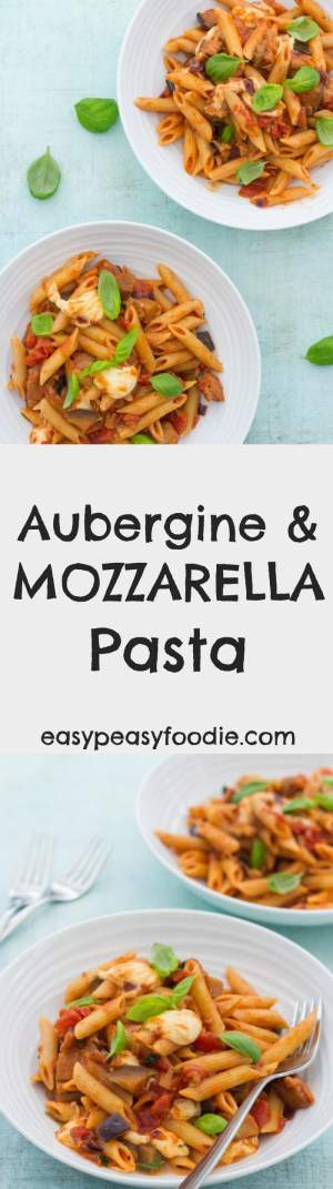 A delicious homemade tomato pasta sauce, perfectly cooked aubergines and salty, stretchy, gooey strings of Mozzarella make this simple Aubergine and Mozzarella Pasta recipe a real family favourite. Ready in under 30 minutes it's perfect for busy weeknights! #aubergine #mozzarella #pasta #tomato #basil #balsamicvinegar #jamieoliver #under30minutes #30minutemeals #italianfood #easydinners #midweekmeals #familydinners #easypeasyfoodie