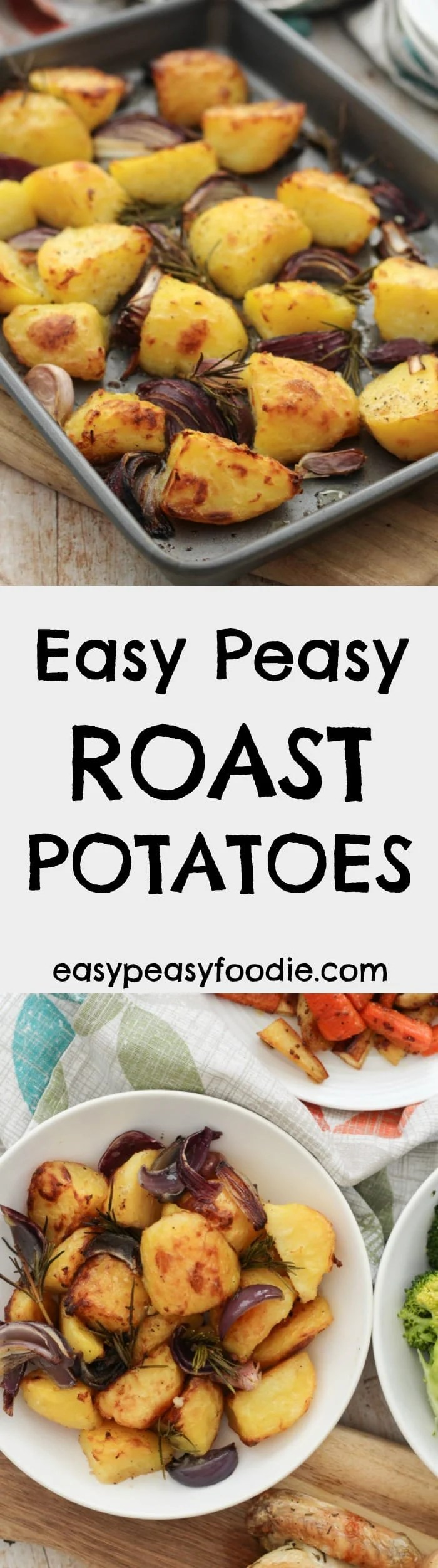 Quick, easy and delicious, these Easy Peasy Roast Potatoes are perfect for your Sunday lunch...in fact they are so quick and simple to make, you could even have them as a midweek treat! #roast #potatoes #roastpotatoes #easyroastpotatoes #roastdinner #roastdinners