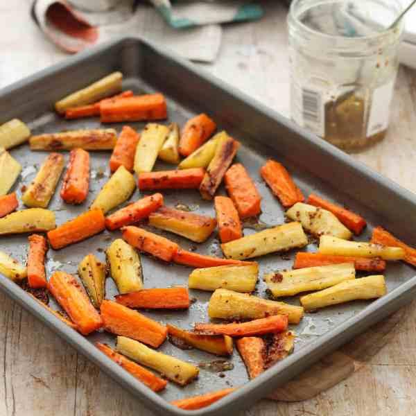 Honey Mustard Roast Parsnips and Carrots