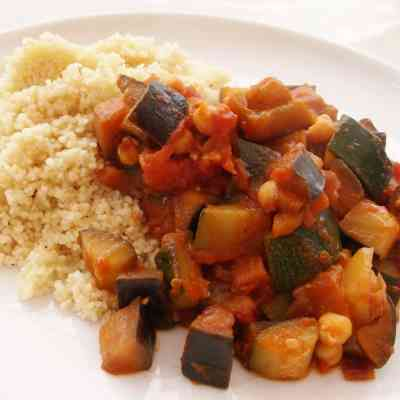 Chickpea Ratatouille and Couscous (Vegan)