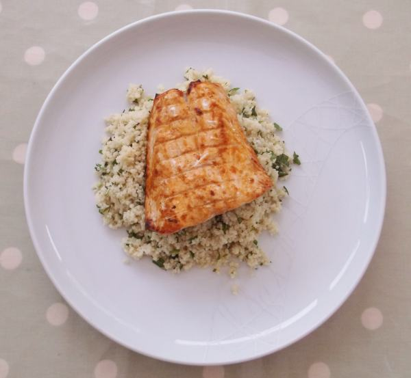 Harissa Salmon and Herby Couscous 1