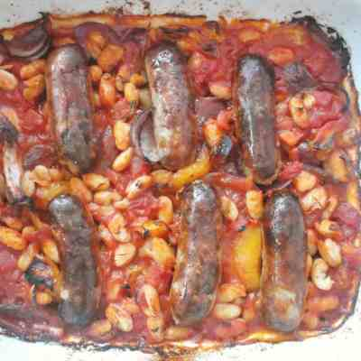Sausage, Tomato and Bean Bake