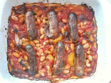 Sausage Tomato and Bean Bake 4