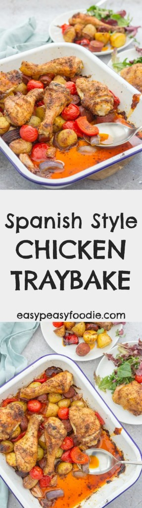 This Spanish Style Chicken Traybake combines crispy chicken, chorizo, roast peppers, new potatoes, garlic and paprika for maximum mouthwartering Spanish deliciousness with a minimum of fuss - just 15 minutes hands on time and the oven takes care of the rest! #traybake #chicken #spanish #spanishchicken #chorizo #paprika #chickentraybake #easydinners #midweekmeals #familydinners #easypeasyfoodie