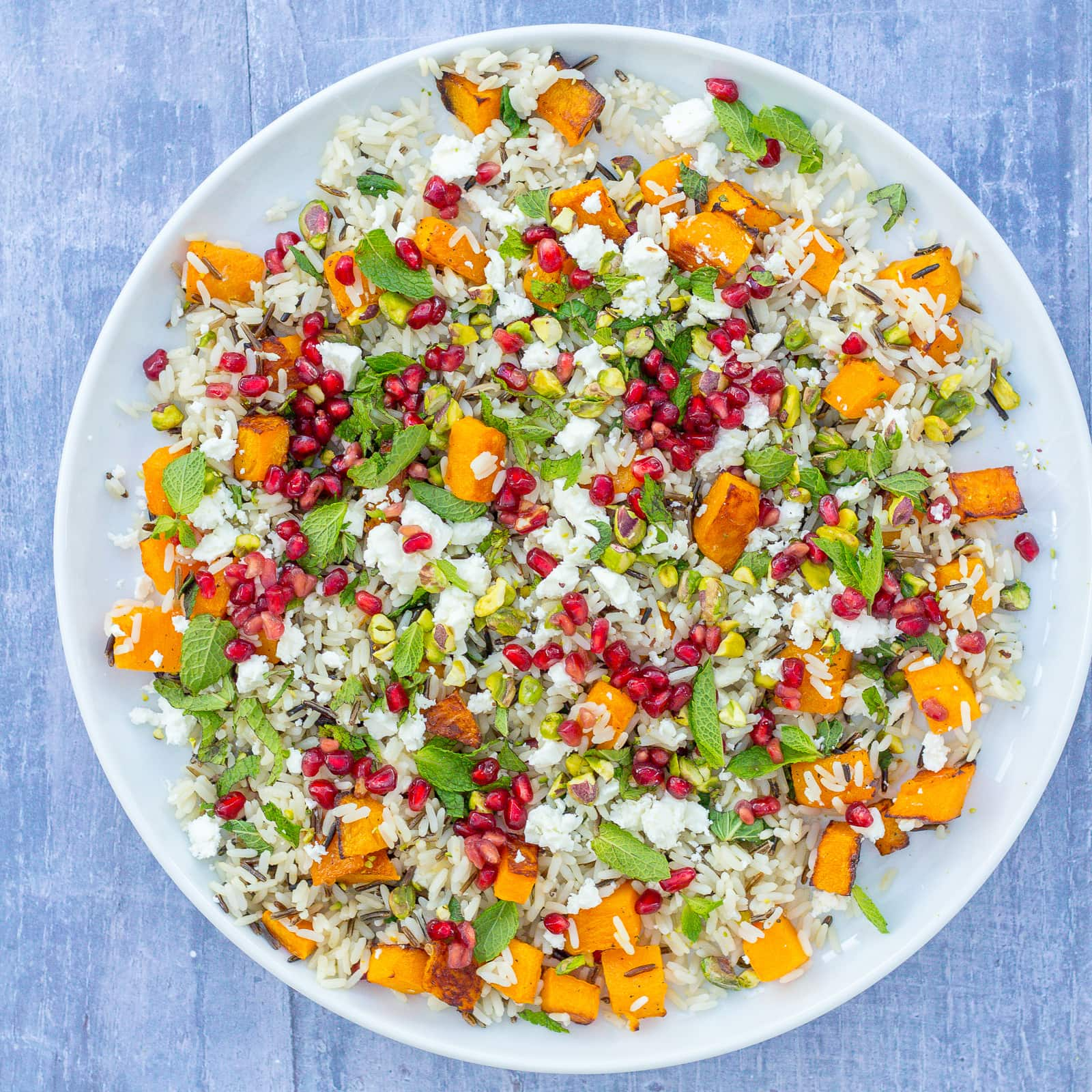Warm Christmas Rice Salad With Butternut Squash And