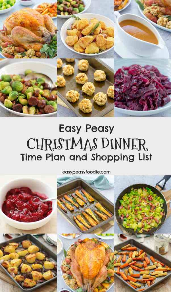 Wouldn't it be great if someone just put together a time plan for Christmas Dinner and maybe a shopping list too… Well you are in luck because that's just the sort of thing I love to do! Here is my Easy Peasy Christmas Dinner Time Plan and a Shopping List for all the ingredients you will need. #christmasdinner #christmasdinnertimeplan #christmasfood #christmasrecipes #christmasday #organizedchristmas #easychristmas #easypeasychristmas #easypeasychristmasdinner #easypeasyfoodie