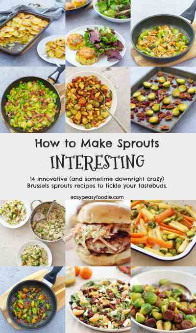 How to Make Sprouts Interesting - 14 delicious, innovative (and sometime downright crazy) Brussels sprouts recipes to tickle your tastebuds. #sprouts #brusselssprouts #brusselsprouts #sproutlover #sprouthater #ilovebrusselssprouts #easyrecipes #easysides #christmasfood #christmasdinner #christmasrecipe #christmassprouts #easypeasyfoodie #cookblogshare #freefromgang
