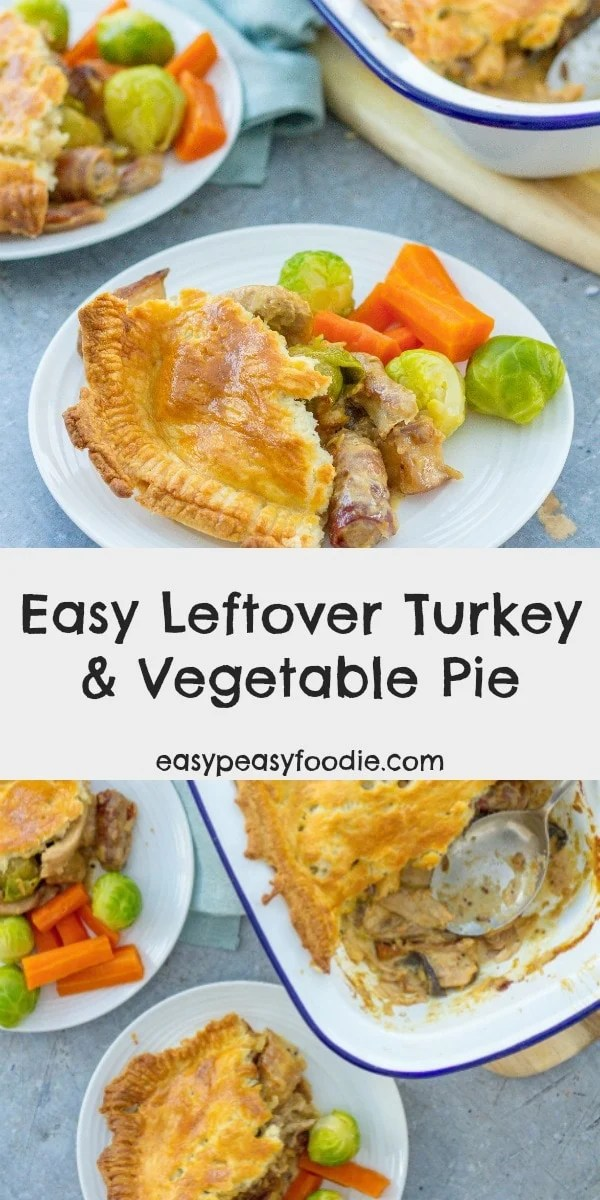 This easy leftover turkey and vegetable pie makes use of all the things you are likely to have left over on Boxing day: roast turkey, a mixture of cooked vegetables, gravy and a bit of cream #turkey #leftovers #leftoverturkey #turkeyleftovers #boxingday #boxingdayfood #boxingdayleftovers #thanksgivingleftovers #christmasleftovers #turkeypie #easyturkeyrecipes #leftoverturkeypie #pie #easypeasyfoodie #cookblogshare #freefromgang