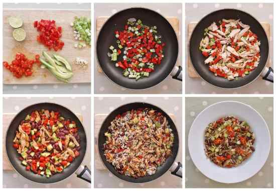 Warm Mexican Style Rice Salad with Leftover Turkey Collage 1