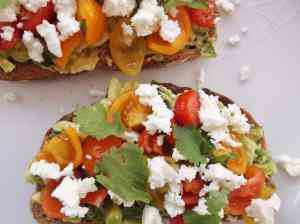 Avocado on Toast with Tomatoes, Lime Juice, Coriander, Spring Onions and Feta