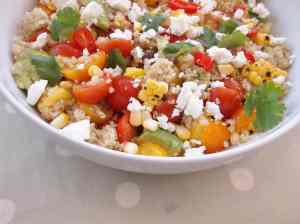 Jamie Oliver's Grilled Corn and Quinoa Salad with Mango, Tomatoes, Avocado and Feta